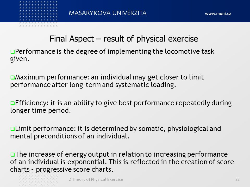 Final Aspect – result of physical exercise