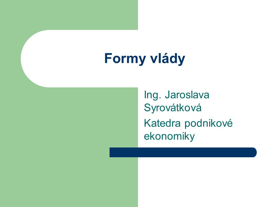 Ing. Jaroslava Syrovátková Katedra podnikové ekonomiky