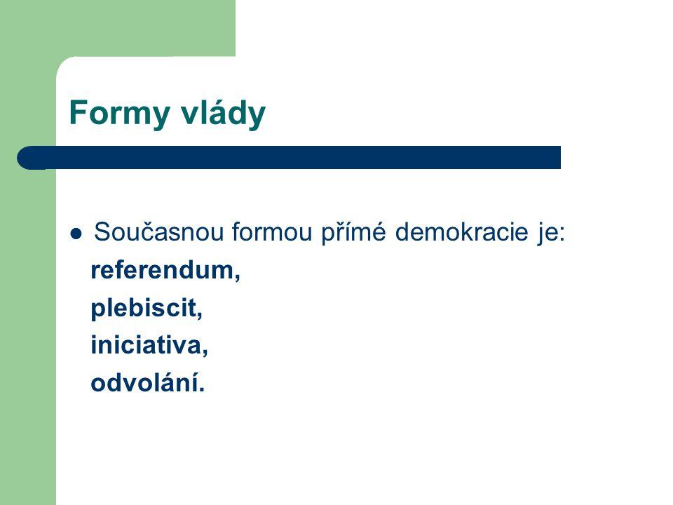 Formy vlády Současnou formou přímé demokracie je: referendum,
