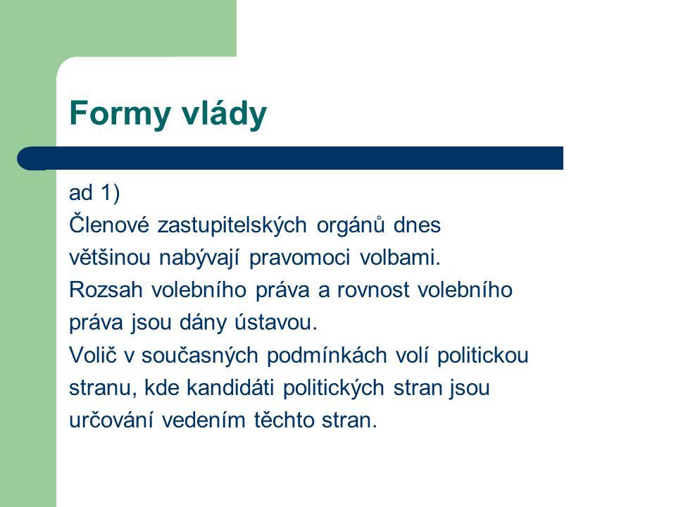 Formy vlády ad 1) Členové zastupitelských orgánů dnes