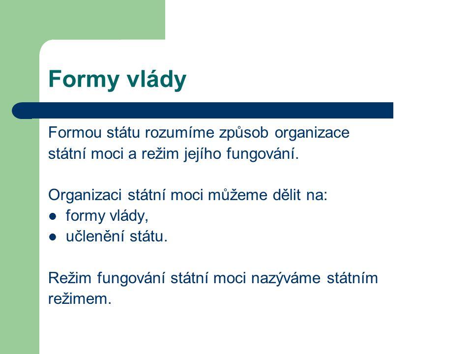 Formy vlády Formou státu rozumíme způsob organizace