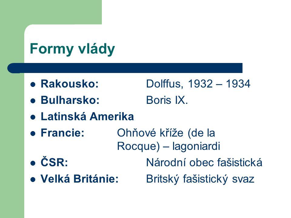 Formy vlády Rakousko: Dolffus, 1932 – 1934 Bulharsko: Boris IX.