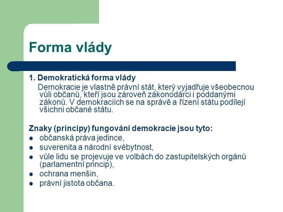 Forma vlády 1. Demokratická forma vlády