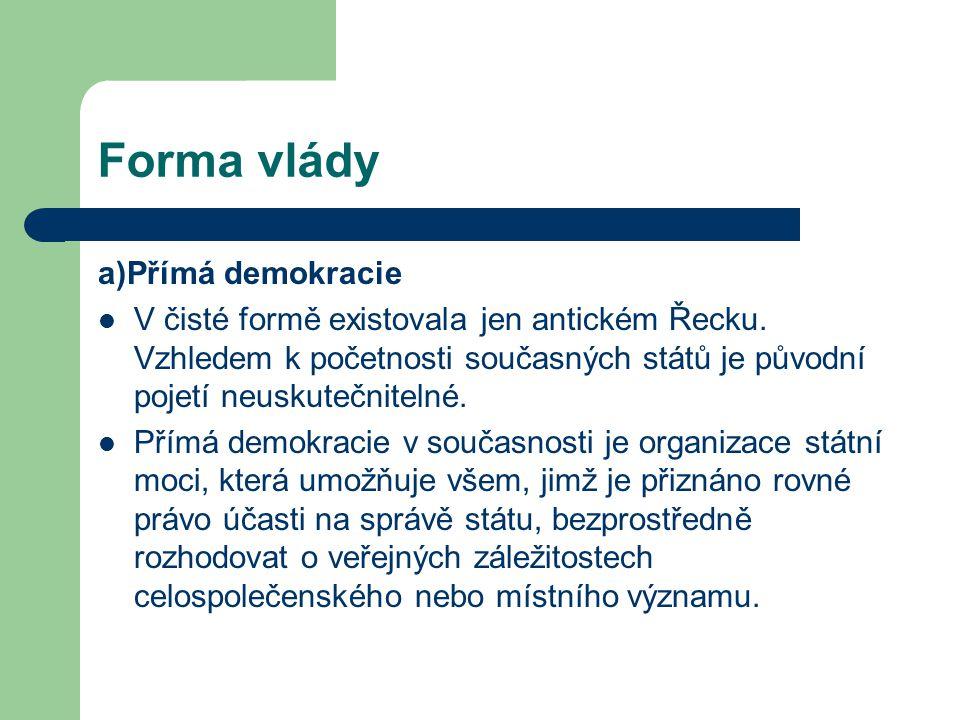 Forma vlády a)Přímá demokracie
