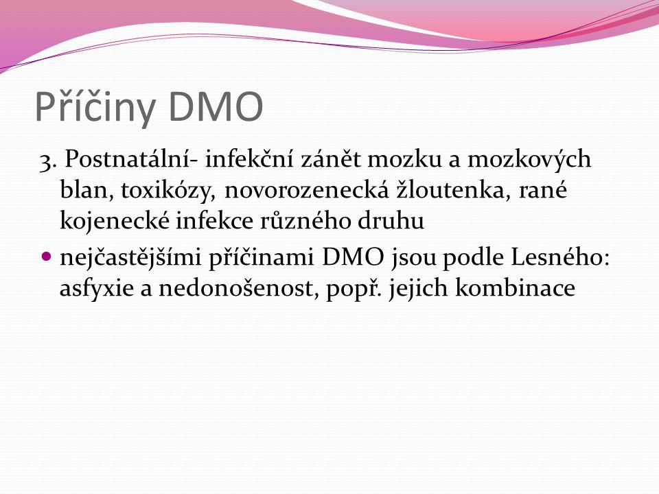 Příčiny DMO 3. Postnatální- infekční zánět mozku a mozkových blan, toxikózy, novorozenecká žloutenka, rané kojenecké infekce různého druhu.