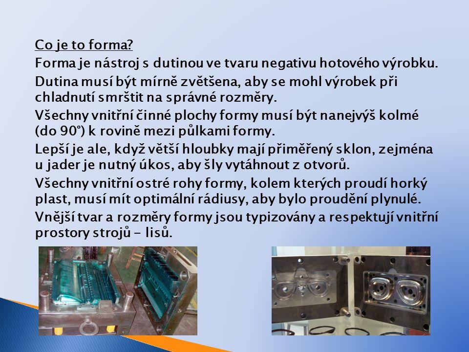 Co je to forma. Forma je nástroj s dutinou ve tvaru negativu hotového výrobku.
