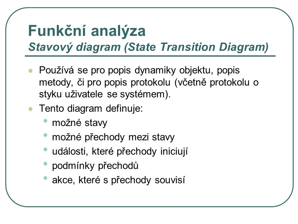 Funkční analýza Stavový diagram (State Transition Diagram)