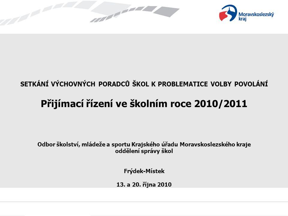 Přijímací řízení ve školním roce 2010/2011