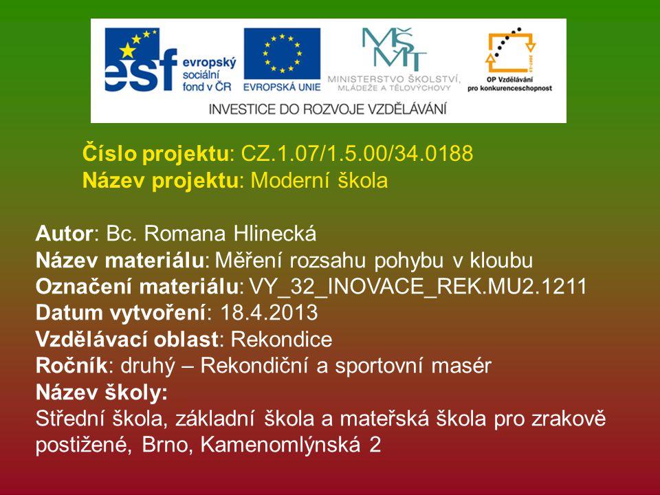 Číslo projektu: CZ.1.07/1.5.00/34.0188 Název projektu: Moderní škola. Autor: Bc. Romana Hlinecká. Název materiálu: Měření rozsahu pohybu v kloubu.