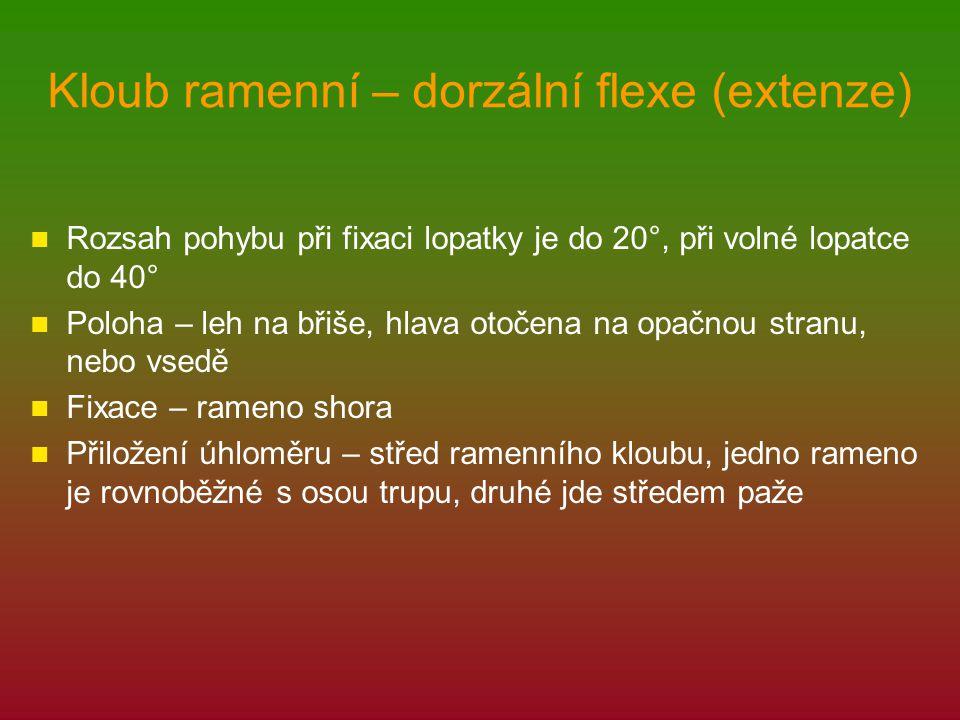 Kloub ramenní – dorzální flexe (extenze)
