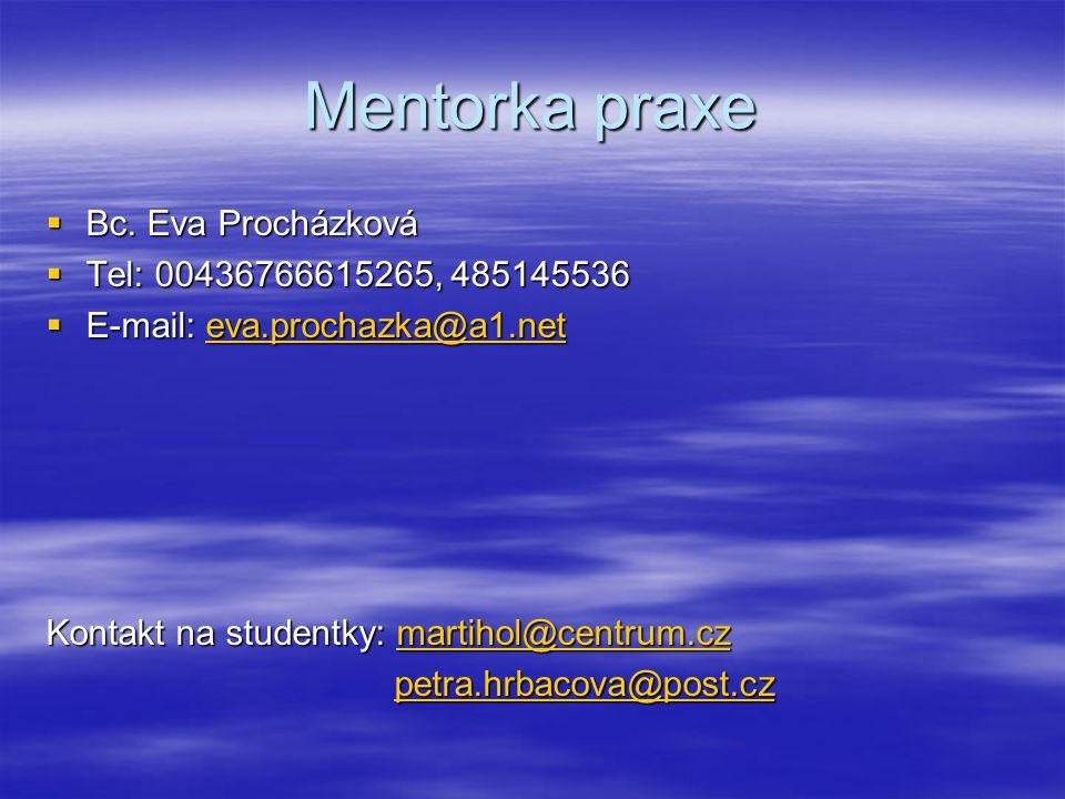 Mentorka praxe Bc. Eva Procházková Tel: 00436766615265, 485145536