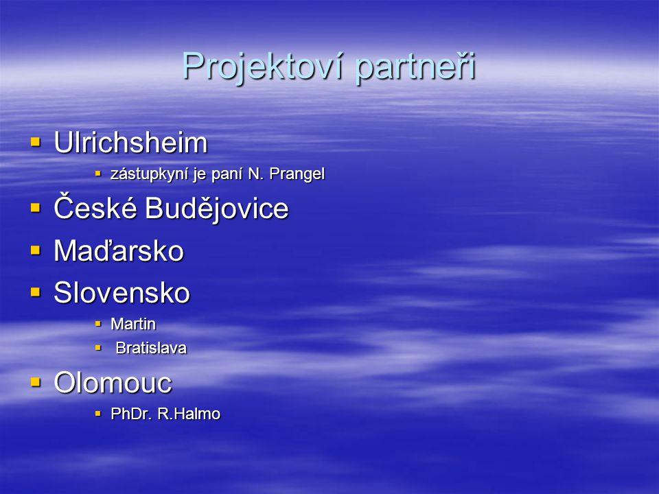 Projektoví partneři Ulrichsheim České Budějovice Maďarsko Slovensko