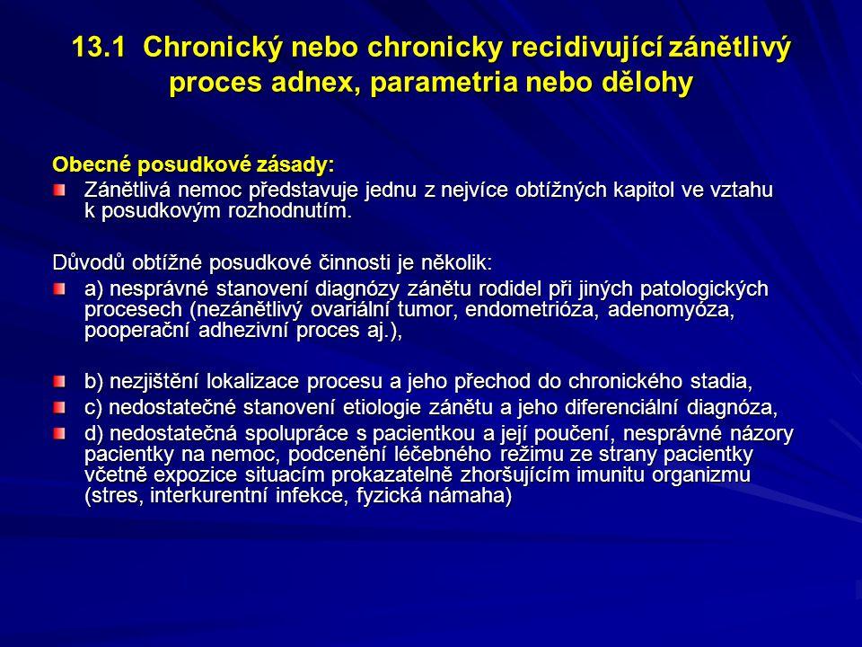 13.1 Chronický nebo chronicky recidivující zánětlivý proces adnex, parametria nebo dělohy
