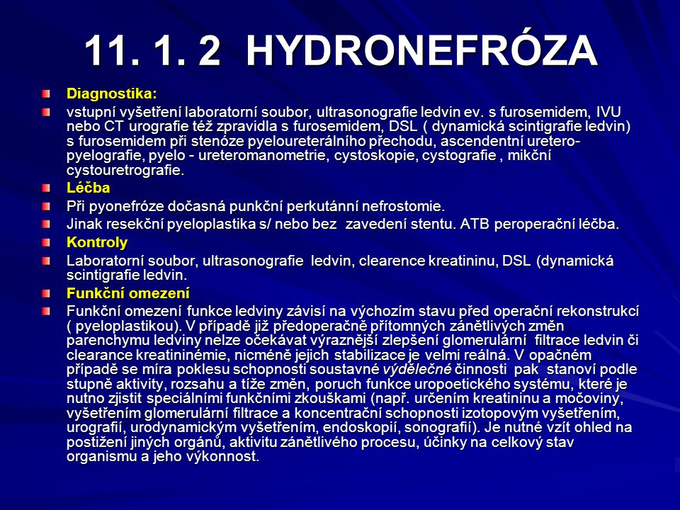 11. 1. 2 HYDRONEFRÓZA Diagnostika: