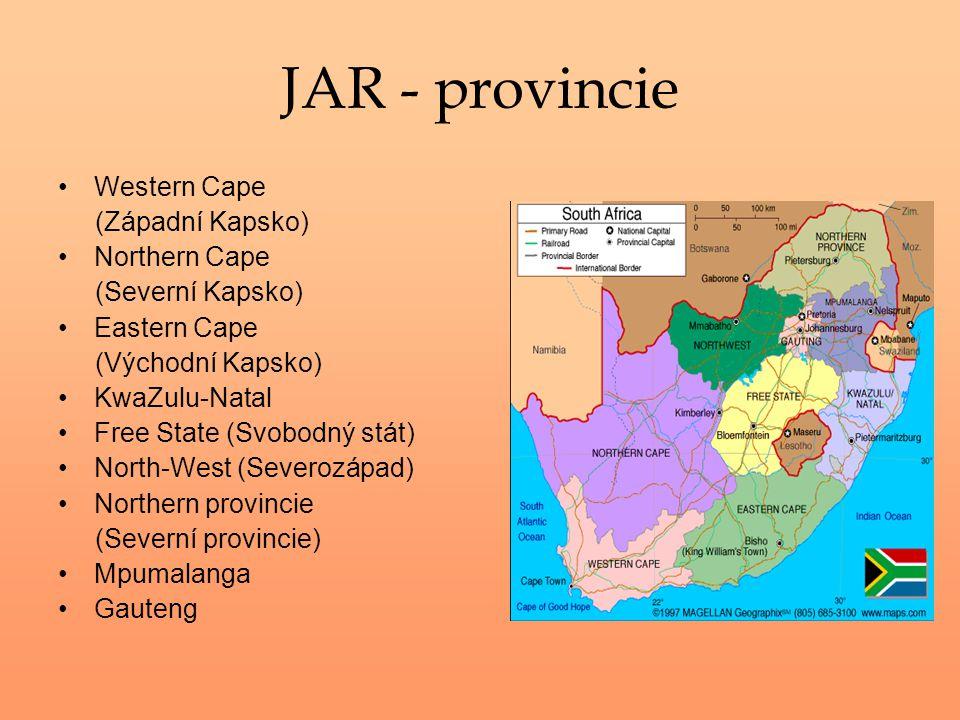 JAR - provincie Western Cape (Západní Kapsko) Northern Cape