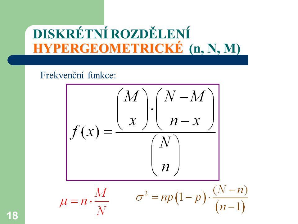 DISKRÉTNÍ ROZDĚLENÍ HYPERGEOMETRICKÉ (n, N, M)