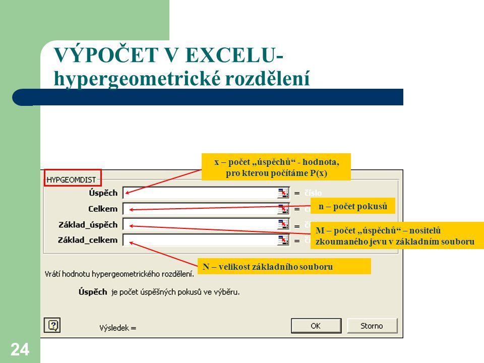 VÝPOČET V EXCELU- hypergeometrické rozdělení