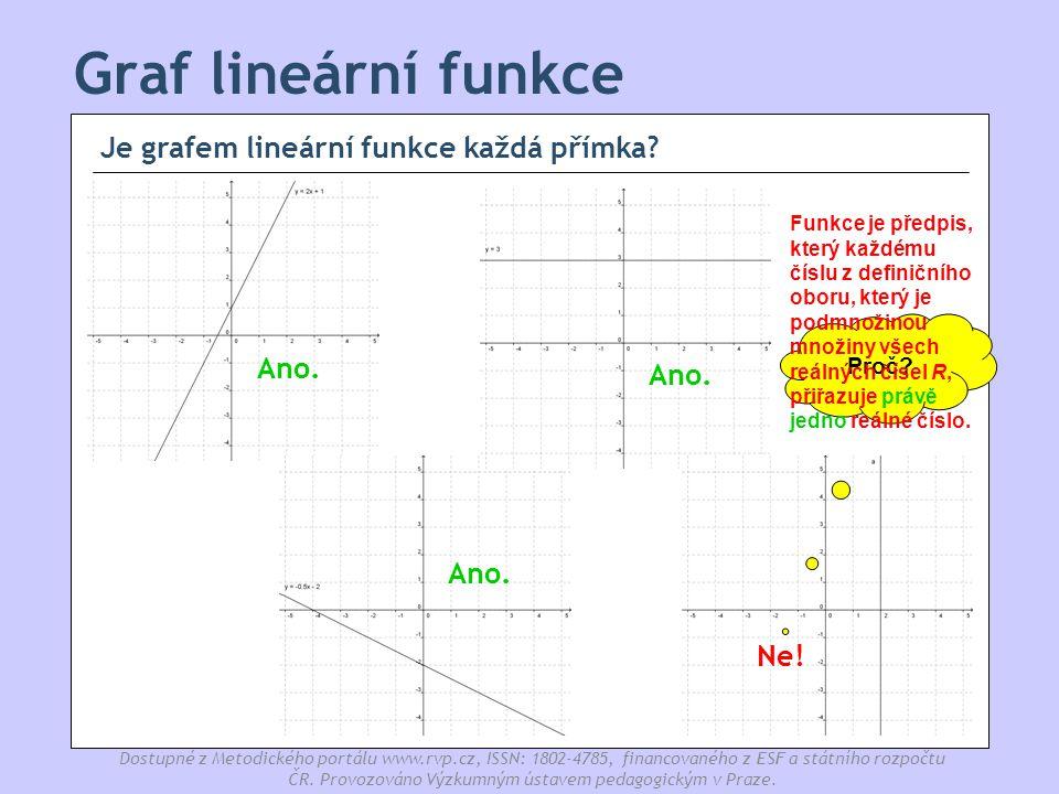 Graf lineární funkce Je grafem lineární funkce každá přímka Ano. Ano.