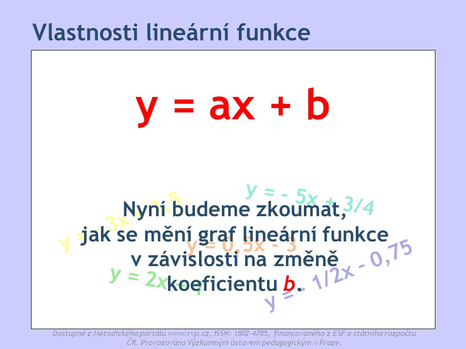 Vlastnosti lineární funkce