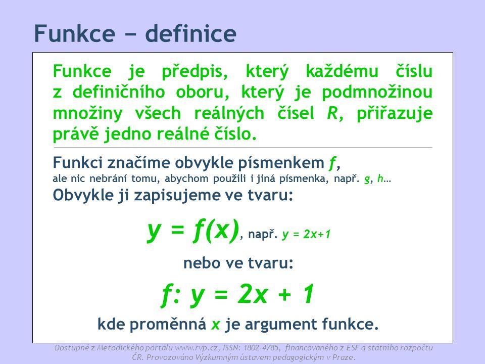 kde proměnná x je argument funkce.