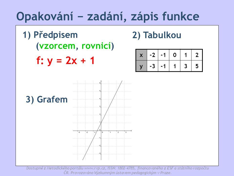 Opakování − zadání, zápis funkce