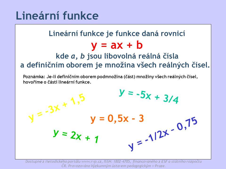 Lineární funkce y = -5x + 3/4 y = -3x + 1,5 y = 0,5x - 3