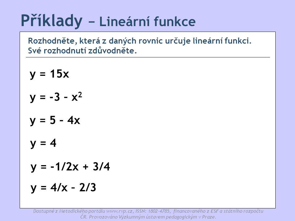 Příklady − Lineární funkce