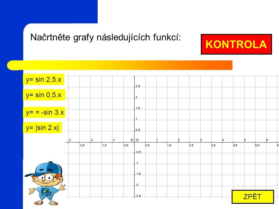 KONTROLA Načrtněte grafy následujících funkcí: y= sin 2,5.x