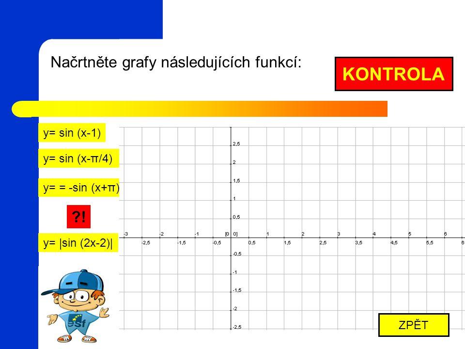 KONTROLA Načrtněte grafy následujících funkcí: ! y= sin (x-1)