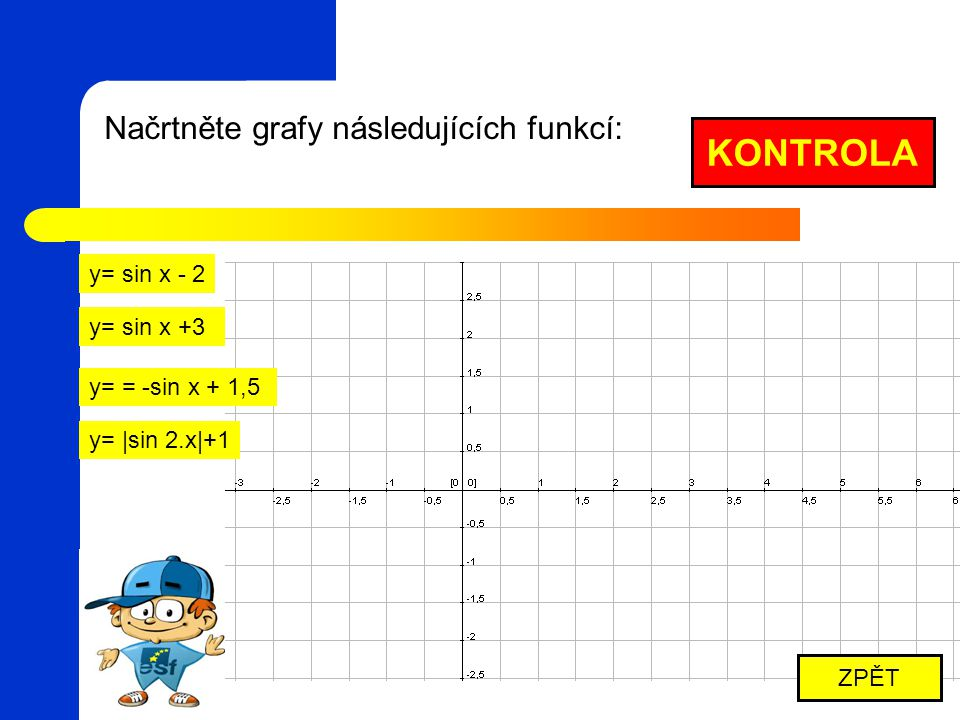 KONTROLA Načrtněte grafy následujících funkcí: y= sin x - 2