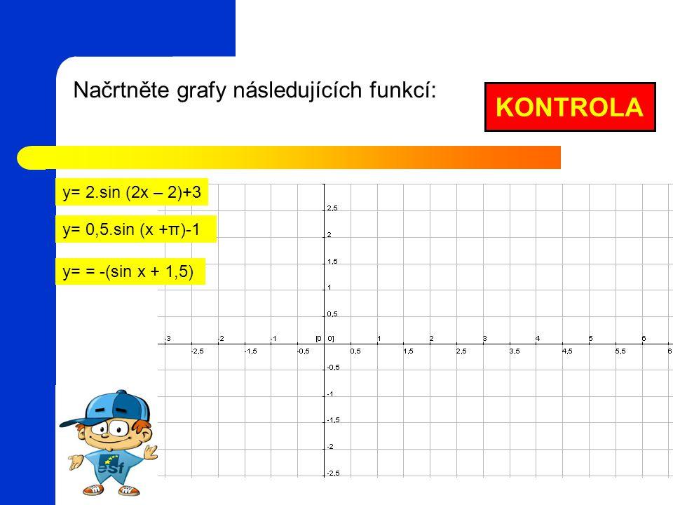 KONTROLA Načrtněte grafy následujících funkcí: y= 2.sin (2x – 2)+3