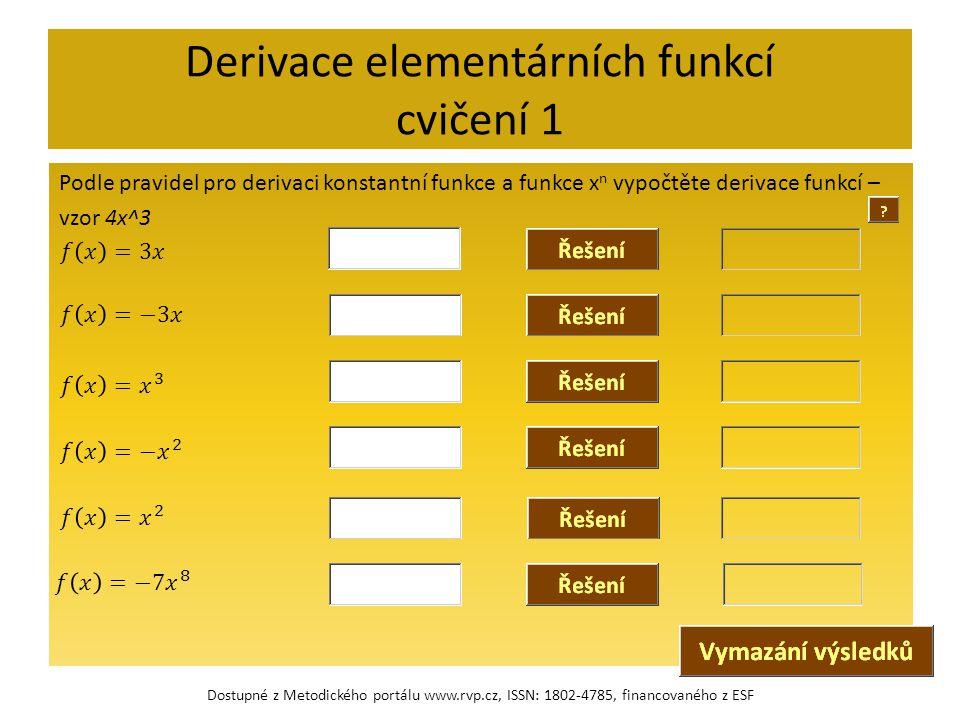 Derivace elementárních funkcí cvičení 1
