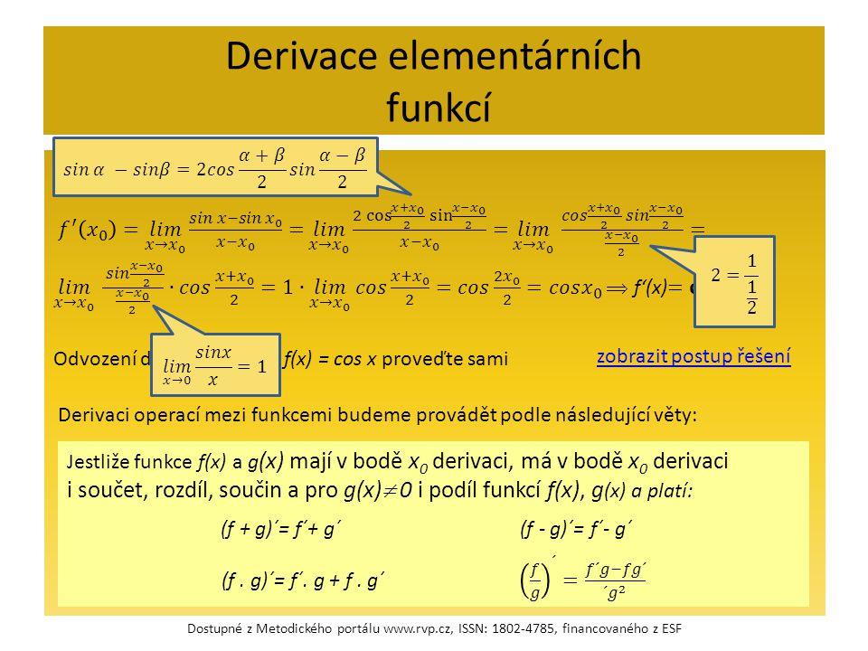 Derivace elementárních funkcí