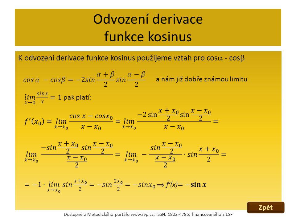 Odvození derivace funkce kosinus