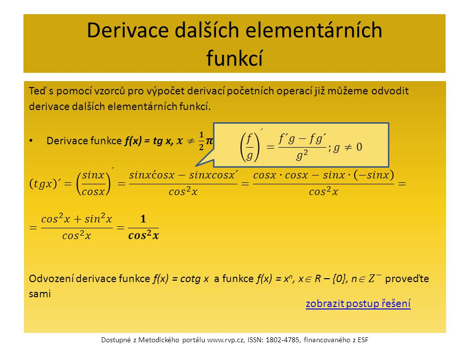 Derivace dalších elementárních funkcí