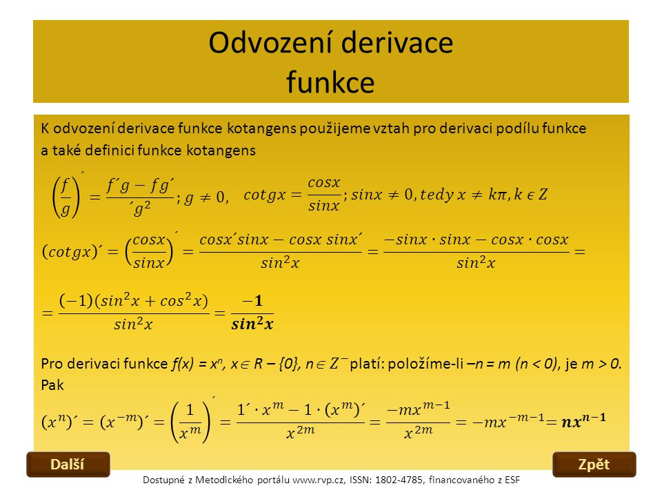 Odvození derivace funkce