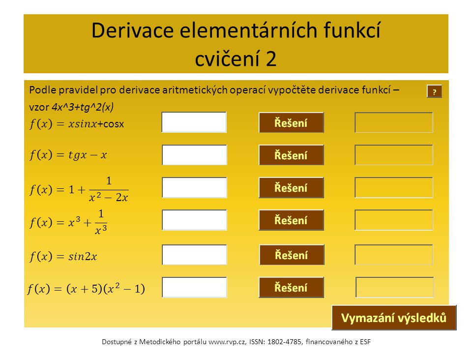 Derivace elementárních funkcí cvičení 2