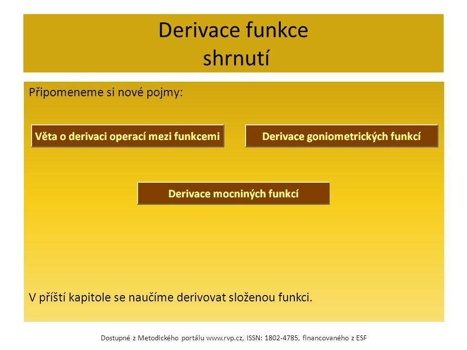 Derivace funkce shrnutí