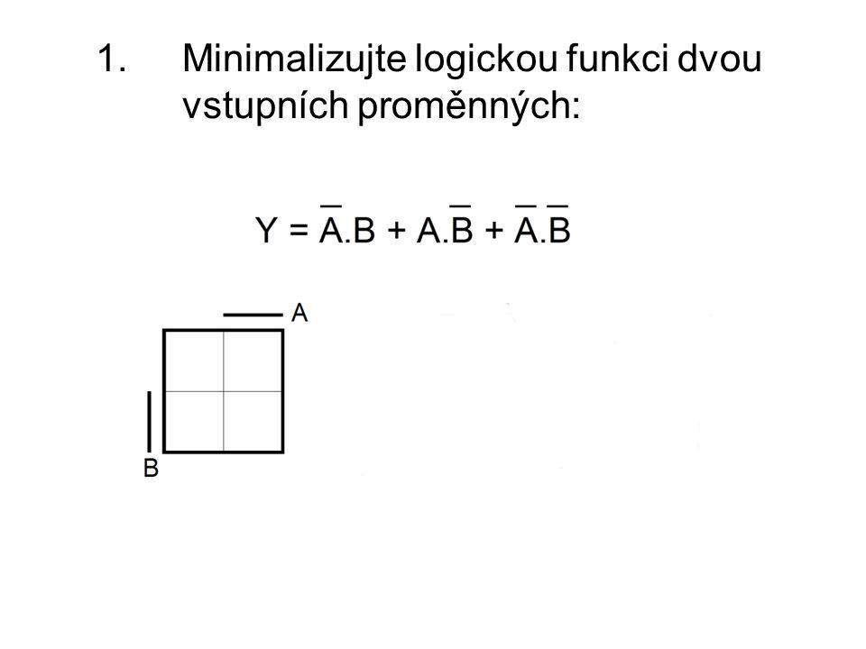1. Minimalizujte logickou funkci dvou vstupních proměnných: