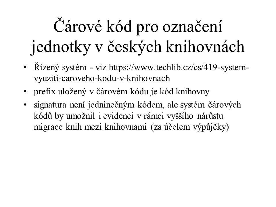 Čárové kód pro označení jednotky v českých knihovnách