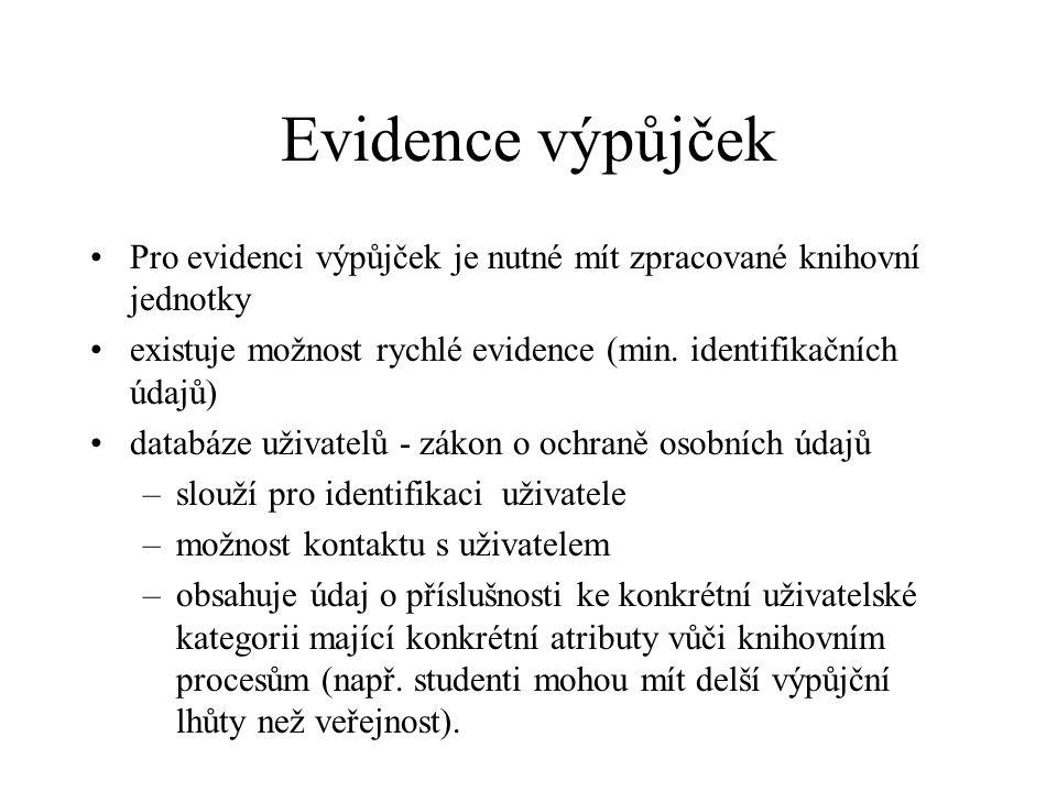 Evidence výpůjček Pro evidenci výpůjček je nutné mít zpracované knihovní jednotky. existuje možnost rychlé evidence (min. identifikačních údajů)