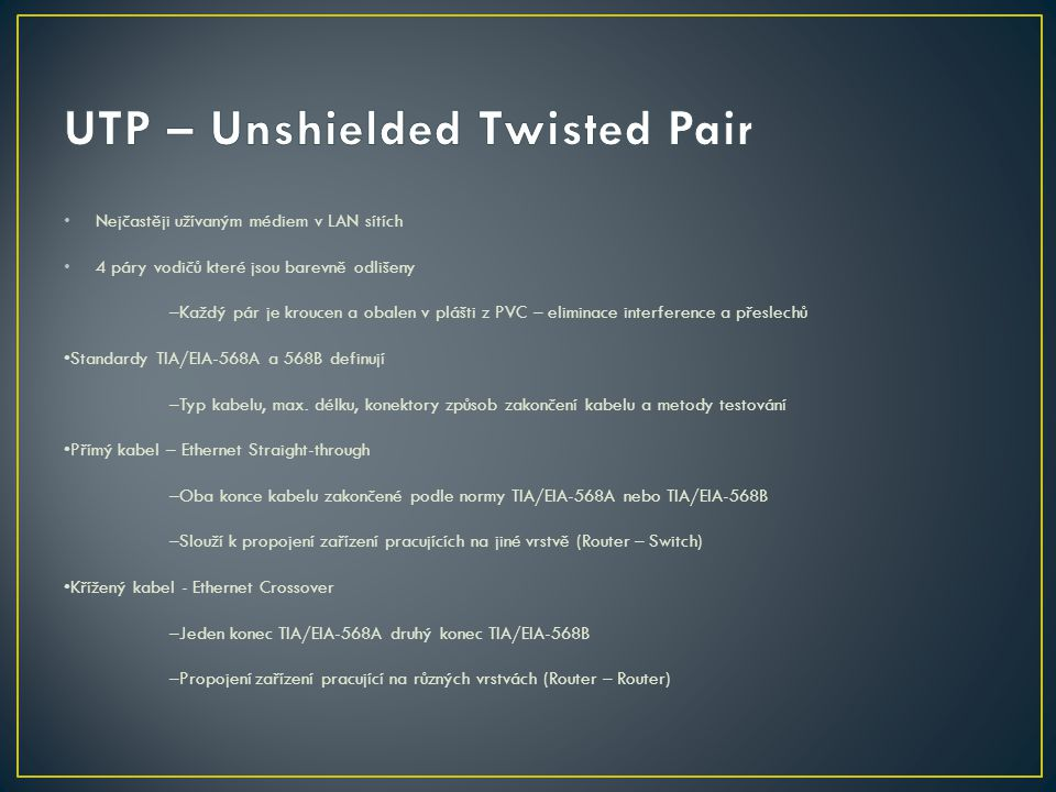 UTP – Unshielded Twisted Pair