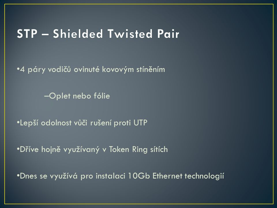 STP – Shielded Twisted Pair