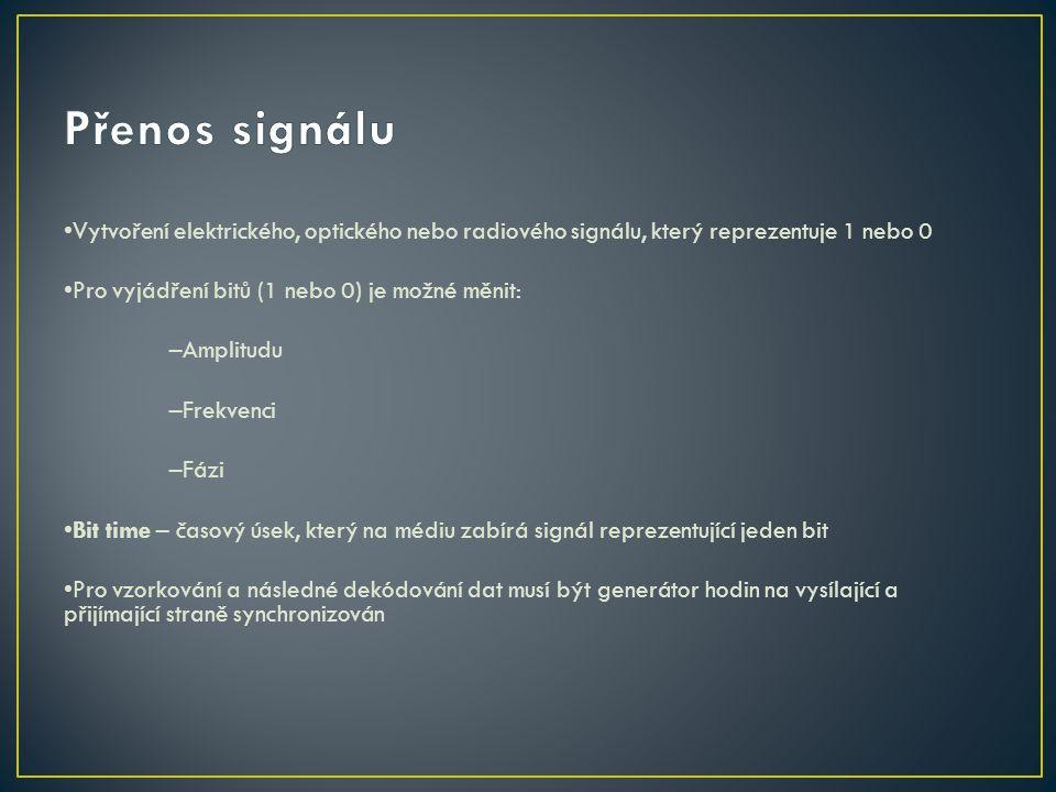 Přenos signálu •Vytvoření elektrického, optického nebo radiového signálu, který reprezentuje 1 nebo 0.