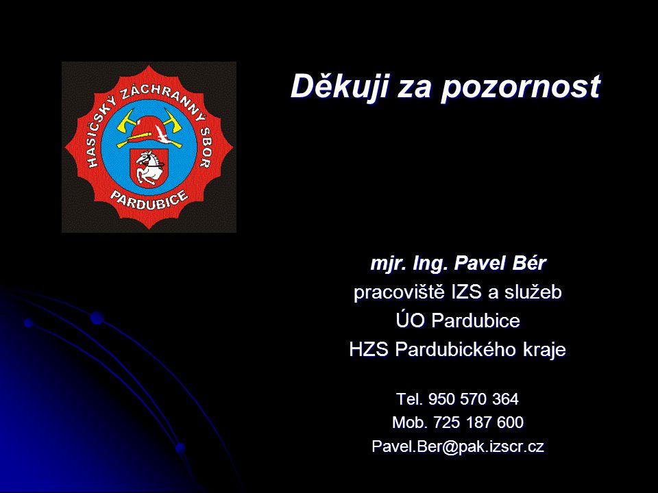 Děkuji za pozornost mjr. Ing. Pavel Bér pracoviště IZS a služeb