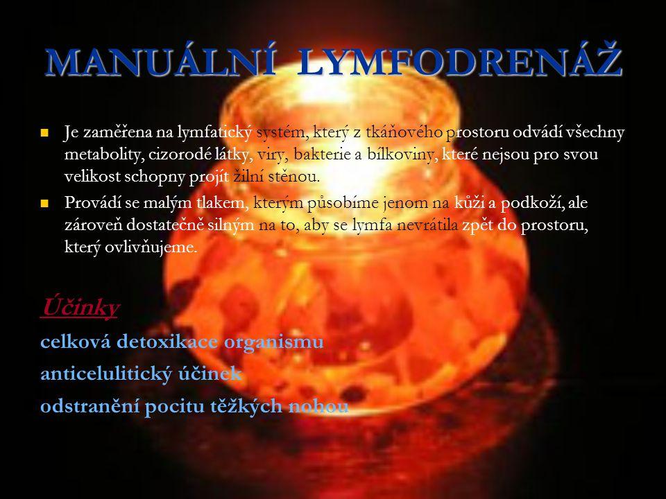 MANUÁLNÍ LYMFODRENÁŽ Účinky celková detoxikace organismu