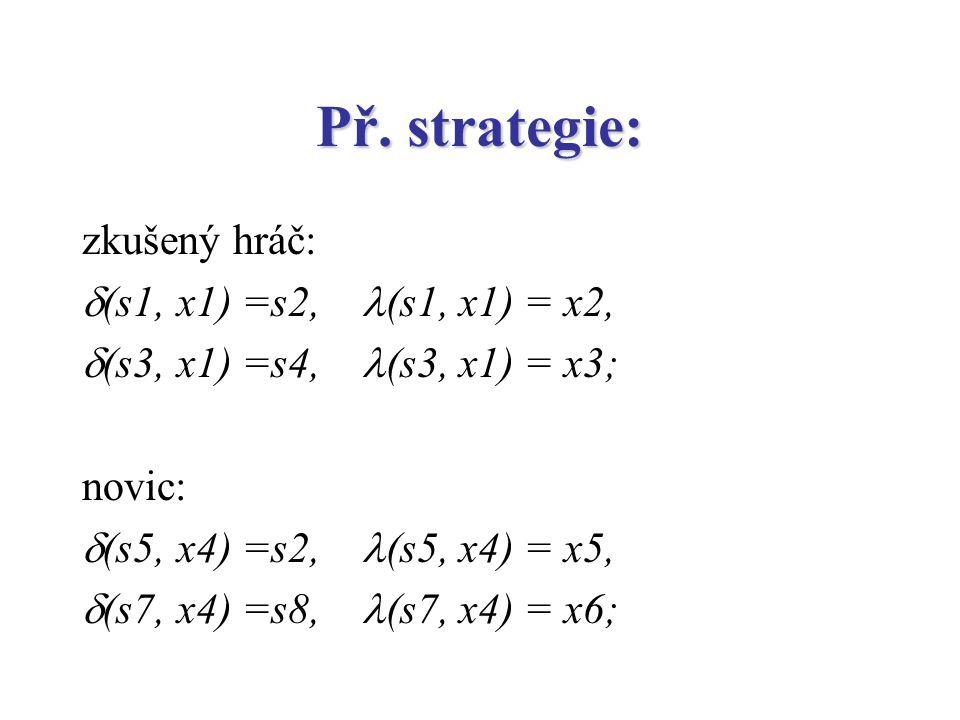 Př. strategie: zkušený hráč: (s1, x1) =s2, (s1, x1) = x2,