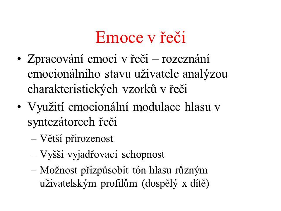 Emoce v řeči Zpracování emocí v řeči – rozeznání emocionálního stavu uživatele analýzou charakteristických vzorků v řeči.