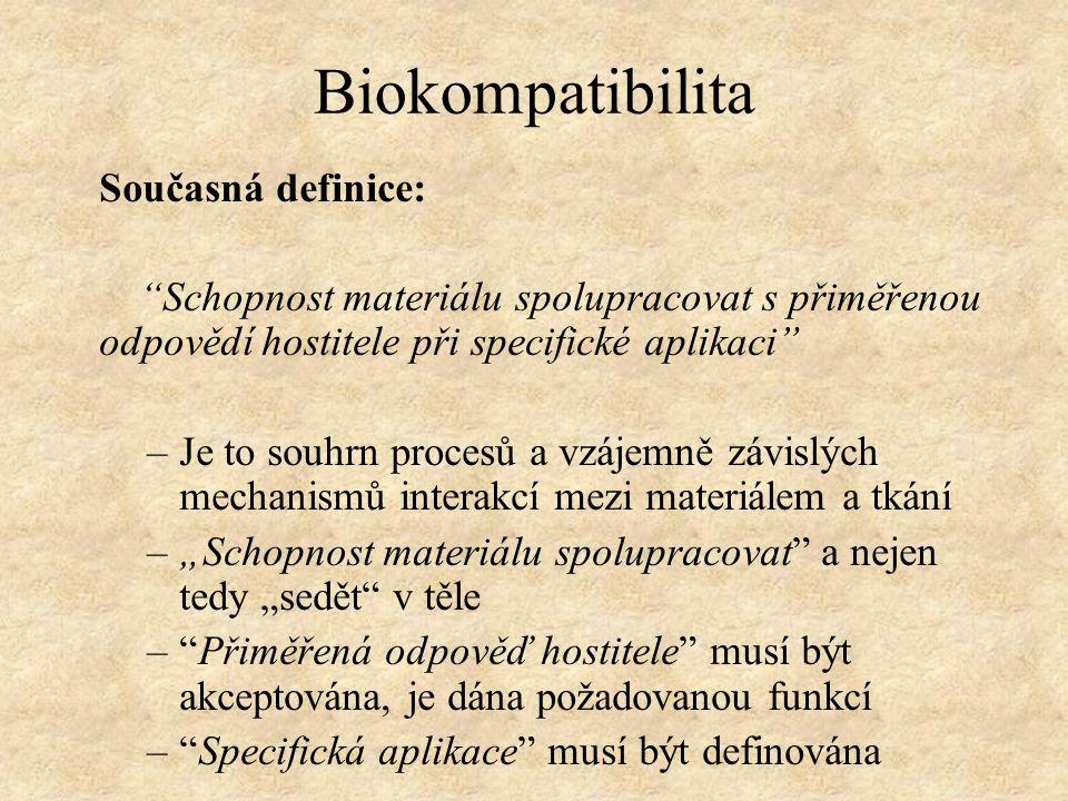 Biokompatibilita Současná definice:
