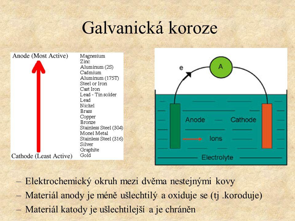 Galvanická koroze Elektrochemický okruh mezi dvěma nestejnými kovy
